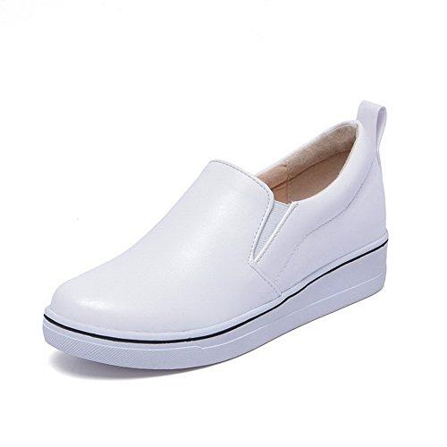 Agoolar Chaussures Blanc Femme À Talon Légeres Rond Cuir Tire Bas Pu 6BqwrF6