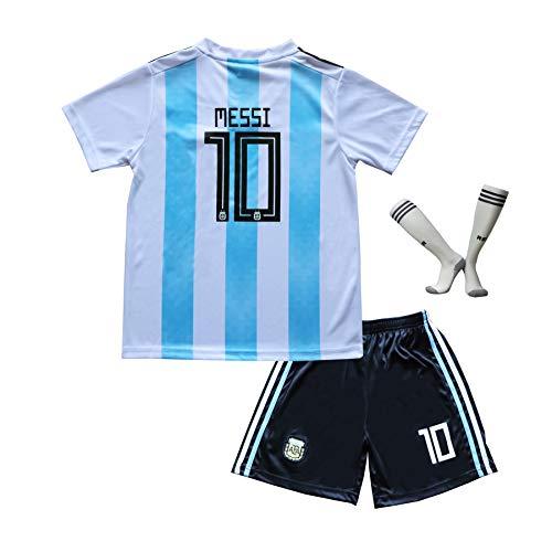 Argentinien Fußball Trikot (BTA APPAREL 2018/2019 Argentinien #10 Lionel Messi Heim Kinder Fußball Trikot Hose und Socken Kindergrößen (4-5 Jahre))