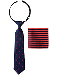 Canacana - Corbata de conejo preatada para niño con rayas y bolsillo cuadrado