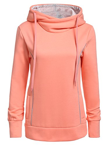 Meaneor Damen Hoodie Schnee Kapuzenpullover Weihnachten Langarm Kapuzenshirt Lässig Sweatshirt Rosa
