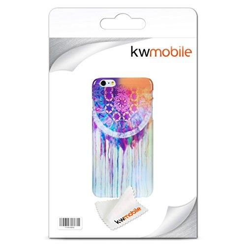 kwmobile Hülle für Apple iPhone 6 Plus / 6S Plus - Backcover Case Handy Schutzhülle Kunststoff - Hardcase Cover Marmor Design Weiß Gold Traumfänger Aquarell Pink Weiß