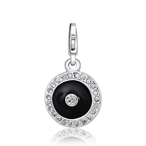 Morella colgante Charms amuleto de buena suerte adornado con piedras de circonita