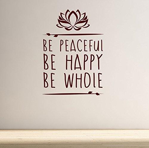 DesignDivil Peaceful Werden. BE Happy. Werden ganze. Yoga und Meditation Inspirierende Qualität Vinyl Matt Wand Aufkleber. 5Farbe und 2Größe Choices, braun (Inspirierende Wand Aufkleber)