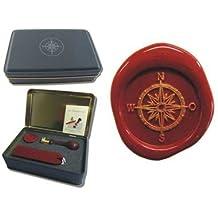 Siegel-Set in Geschenkdose Petschaft - Kompass - inkl. 2 Stangen Siegelwachs rot mit Docht