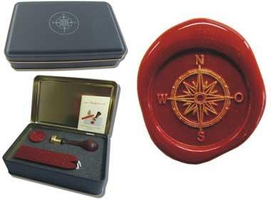 Kompass Siegel-Set in Geschenkdose Petschaft inkl. 2 Stangen Siegelwachs rot mit Docht