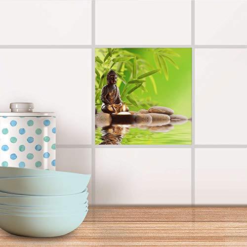 creatisto Stickerfliesen für Bad und Küche I Fliesen-Folie Sticker selbstklebend I Fliesen renovieren - Stickerfliesen für Küchen- und Badfliesen I Design: Buddha Zen