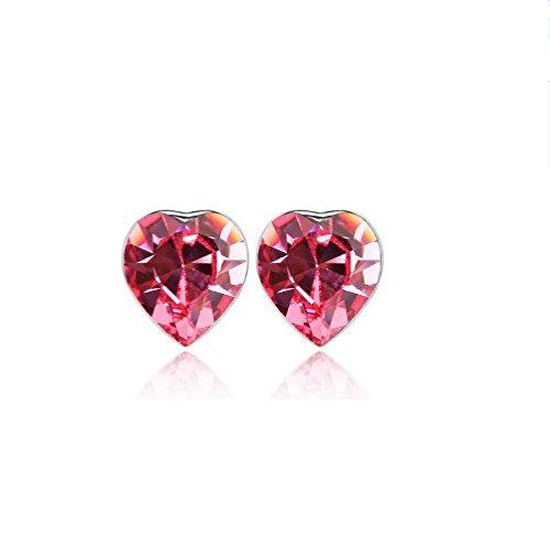 Erica Coeur de cristal mousseux autrichien en forme de Boucles d'oreilles cadeau parfait pour les femmes red