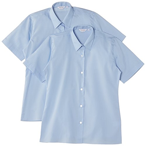 Trutex Girl's Short Sleeve Easy Care Blouse (pack of 2), Blue, 13 Years (Manufacturer Size: 34