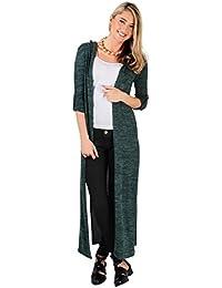 KRISP® Femmes Cardigan Manches Longues Maxi Long Veste A Capuche Casual Tendance