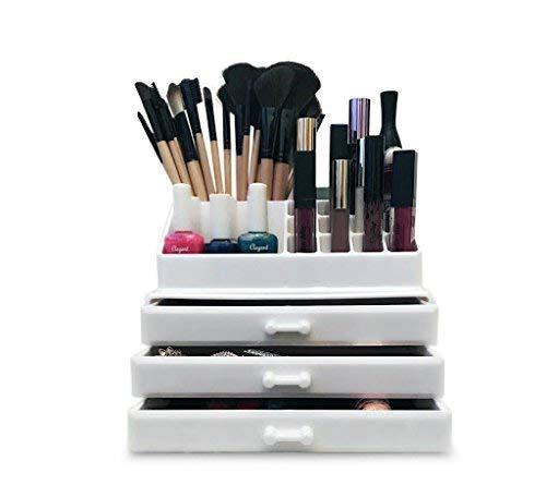 Oi LabelsTM Acrylique Blanc Maquillage / Produits de Beauté/Bijoux/Vernis à Ongles Organiseur Présentoir (avec Haut Grade 3mm Acrylique ) . Cadeau En