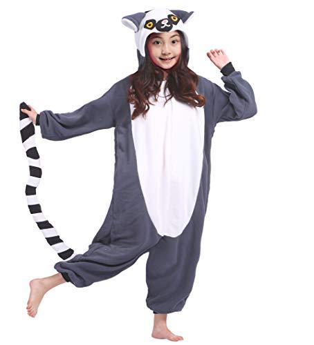 Karton Fasching Karneval Halloween Kostüm Kinder Mädchen Junge Kigurumi Sleepsuit Overall Pyjama Unisex Lounge Cosplay Schlafanzug, Lemur ()