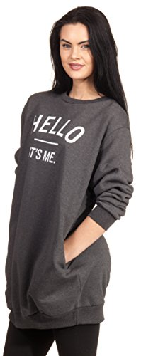 Oversize Hello Its Me Sweater Sweatshirt Pulli Pullover Print Statement Aufdruck Dunkelgrau