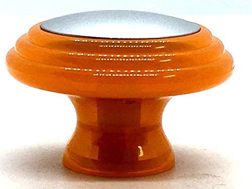 4 x Orange & chrome effect 37mm knobs cupboard pull handles by Swish. by Swish