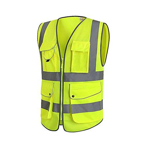 Wisamic Gelb Warnweste Pannenweste Sicherheitweste mit Neun Taschen Neon Unfallweste mit Reflektorstreifen und Reißverschluss Waschbar 360 Grad Reflektierende Schutz für Handwerker Bauarbeiter (L)