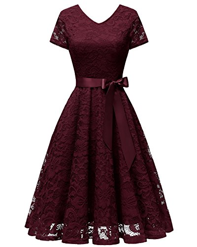 Bridesmay Damen 50S Retro Spitzenkleid Kurzarm Elegant Cocktail Abendkleid Burgundy XL