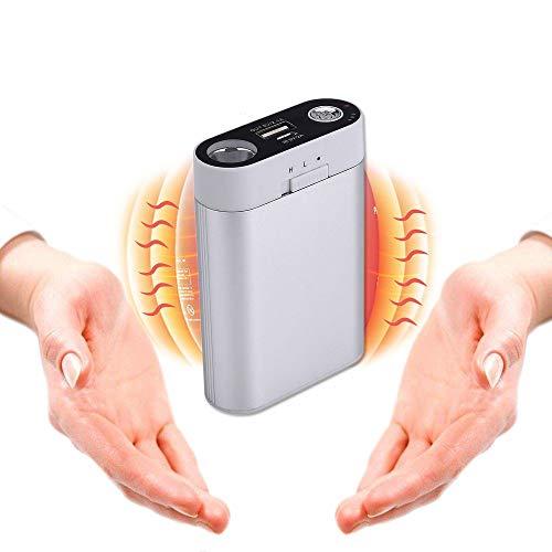 Alfway 3in1 Aufladbarer Handwärmer USB Wiederaufladbare Handwärmer mit Powerbank Funktion elektronische Handwärmer 7800mAh/5200mAh Mobile Batterie LED Taschenlampe doppelseitig warm(7800mAh, Silber)
