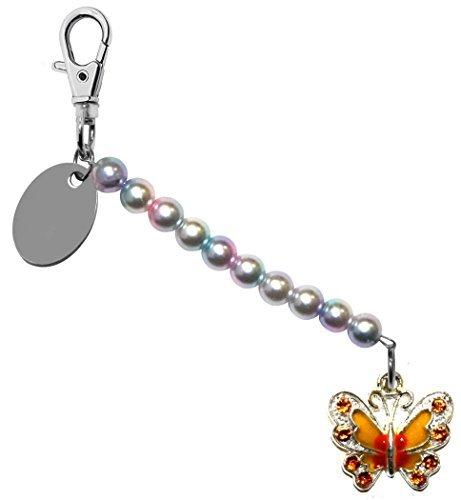 Gravur Personalisiert Bernstein Schmetterling Perlglanzfarbe Perle schlusselring / Handtaschen Anhänger in Geschenk Beutel bd6pl52 (Handtasche Geschenk-beutel)
