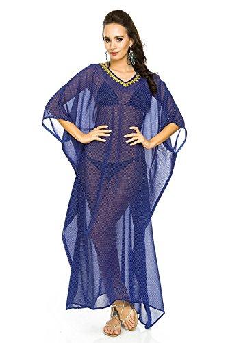 donna lungo Kimono MAXI spiaggia estiva Throw Abito Caftano Taglia unica Blue-310
