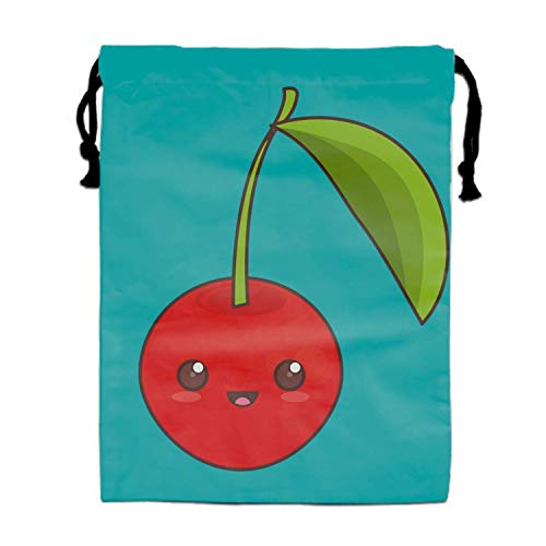 Einst Kawaii Fruit Icon Travel Turnbeutel Bag Shoe Laundry Underwear Makeup Storage Pouch 15.75 x 11.8