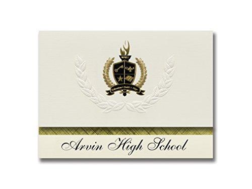 Arvin High School Announcements Arvin High School (Arvin, CA) Abschlussankündigungen, Präsidential-Stil, Grundpaket mit 25 goldfarbenen und schwarzen metallischen Folienversiegelungen