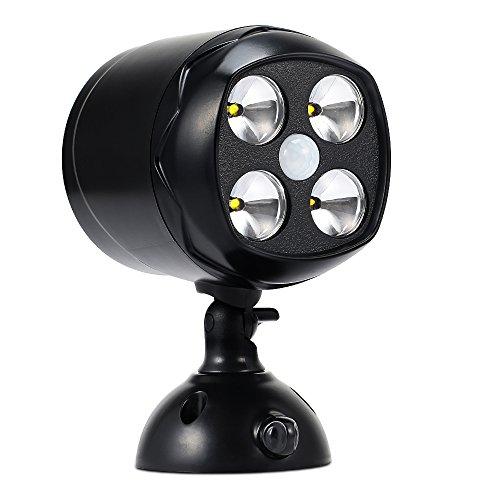 Lampada da Parete 4 Led 600 Lumen ( Sensore di Luce, Sensore di Movimento PIR, Auto Shut-off, Installazione Facile ) Luce Wireless per Esterno e Interno, Passi Carrai, Passerelle, Percorsi, Scale