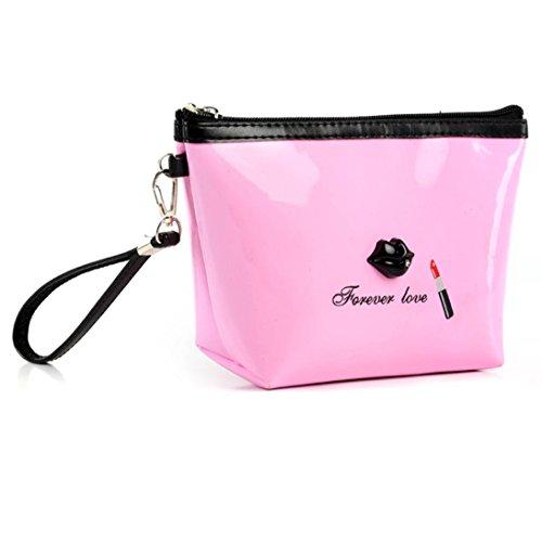 ★Housse portative Zip Toiletry Travel Cosmetic Bag,Xjp Pu de haute qualité Sac à main en cuir★ (Rose)