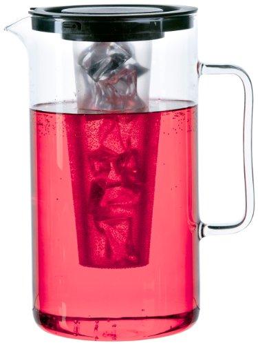 Bohemia Cristal 093 006 057 SIMAX Krug ca. 2,5 ltr. aus hitzebeständigem Borosilikatglas mit Eiswürfeleinsatz aus Kunststoff und Kunststoffdeckel schwarz (Zitrone Eis Tee Mit)