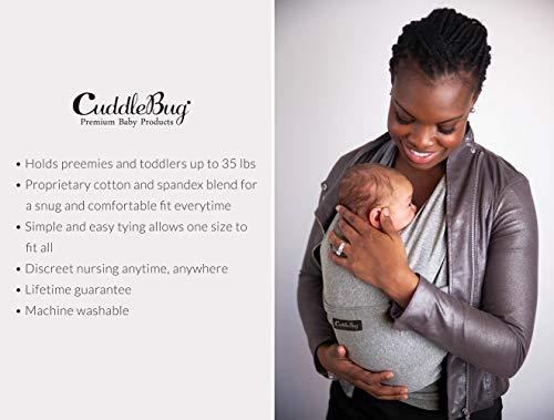 ❤️ Tragetuch Baby von Cuddlebug ❤️ mit Gratisversand – 5 Farboptionen – Baby Carrier Sling – Babytragetuch Neugeborene – Elastisches Tragetuch (Grau) - 4