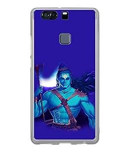 PrintVisa Designer Back Case Cover for Huawei P9 (Shiva Shankar Om God Blue Religious Bhagwan Skyblue)