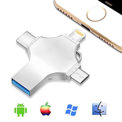 4in 1USB 3.0flash drive memory stick per iPhone iPad, espansione di memoria penna pollice Jump Drive OTG per Android iOS PC Silver 256 GB
