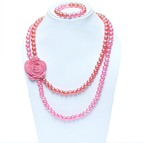 D\'Chica Roses Are Pink Pearl Jewelry Set ( Necklace with Bracelet ) For Kids