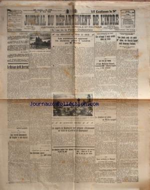 JOURNAL DU DEPARTEMENT DE L'INDRE [No 189] du 21/08/1924 - LE RETOUR DE M. HERRIOT - LES EXPERTS DE WASHINGTON - TRAITE DE SECURITE ET DE DESARMEMENT - LETTRE EMOUVANTE DE VAQUIER A SON AVOCAT - LE PRIX DU PAIN - LA SITUATION EST GRAVE AU MAROC ESPAGNOL - L'ARABE MOHAMED KHEMELI L'ASSASSIN DE MMES BILLARD ET FOUGERE A ETE EXECUTE - LES BANDITS DU RAIL - M. ET MME KAUFFMANN - SANS AVOIR ETE MERE - MME GALOU - NEE DINORAH COARER AVAIT BEAUCOUP D'ENFANTS