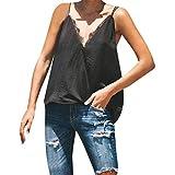 Canotte da Donna per Ufficio Camicia T-Shirt del Senza Maniche Camisole Top del Casual Tinta Unita del Patchwork di Pizzo Donne Canottiere con Cinturino Regolabile JKLEUTRW