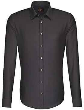 Seidensticker Herren Langarm Hemd UNO Super Slim grau strukturiert 673420.37