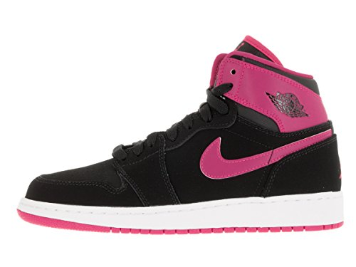 Nike Mädchen Air Jordan 1 Retro High GG Laufschuhe Schwarz / Rosa / Weiß / Pink (Schwarz / Vivid Rosa-Weiß-VVD KNP)