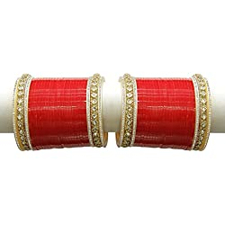 MUCH MORE Crytal Red Metal Bridal Choora Bangle Set for Women
