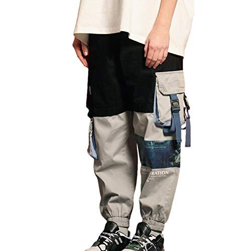 DEBAIJIA Damen Hosen Sweatshose Freizeithose Sweatpants Jogginghose mit Taschen Locker Weite Lange Hose Gedruckte Frauen Mädchen Retro Mode Hip Hop Straßenkleidung Trend für Freizeit Outdoor - L