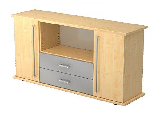 Sideboard DR-Büro Serie SB - Aktenschrank 166,1 x 44,8 x 84 cm - 2 Schubladen - Regale in OH - 5 Farben, Farbe Büromöbel:Ahorn -