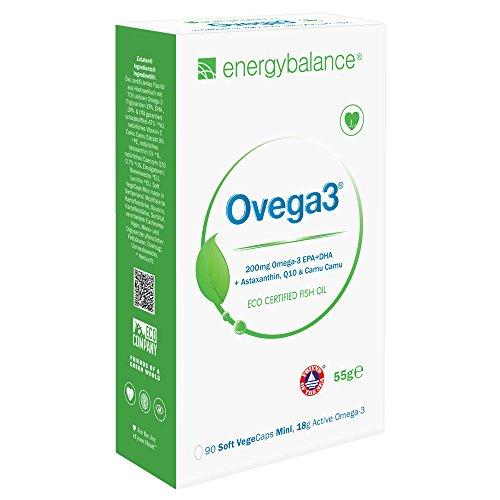 Ovega3 90 | Omega 3 Kapseln | mit 3 natürlichen Antioxidantien Astaxanthin, Q10, Vitamin C | kleine Kapsel | ohne Gelatine | schadstofffrei | EPA und DHA |Glutenfrei |ohne Gelatine | GVO-frei
