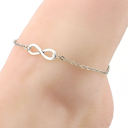 Hosaire 1X Cavigliera da Donna da ragazza numero '8' braccialetto di caviglia del piede catena di Descalzo Sandalia Playa accessori regolabile 21+5CM argento