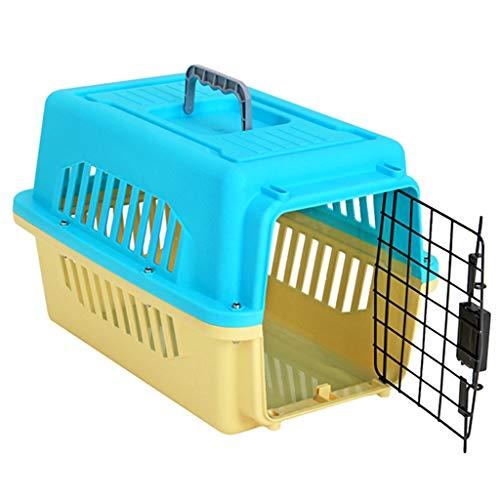 Jlxl Transportbox Hunde, Auto Haustier Träger Zwinger Kunststoff Tragbar Tierkäfig Katze Reise Korb Sperren Metalltür (Size : M 50x33.7x31.4cm) -
