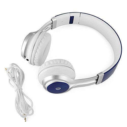 AT&T HPM10 Over-Ear Stereo Noise Cancelling Headphones with Built-In Microphone and Extra Bass - Blue Image 3