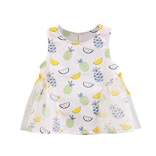 wuayi  Baby Mädchen Kleid Kinder Mädchen Ärmellos Obst Print Patchwork Tüll Bow Kleider 6 Monate - 4 Jahre - Bow Strumpfhose