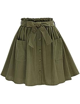 Mujer Midi Falda de Cintura Alta con Bolsillo Plisada Faldas de Fiesta