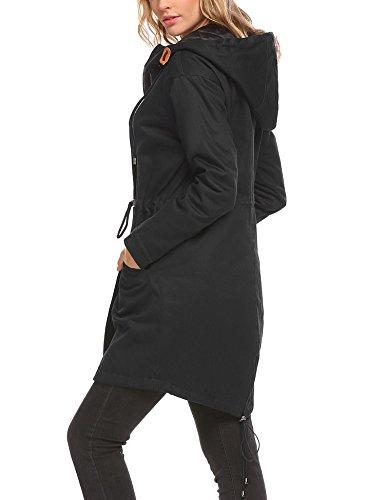 SOTEER Damen Winterjacke Steppjacke Mantel Parka Baumwolle Wattiert Mit verstellbarer Kordelkapuze Warm Camouflage Schwarz Blau S-XXL Schwarz