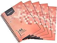 Amazon Basics - Quaderno per studenti, 160 pagine, formato A5, 70 g/m², (confezione da 5)