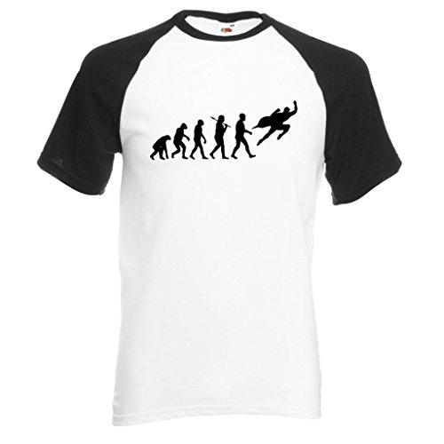 Evolution Superheld Baseball Style Schwarz und Weiß T-Shirt mit schwarzem Print Gr. XX-Large, schwarz/weiß