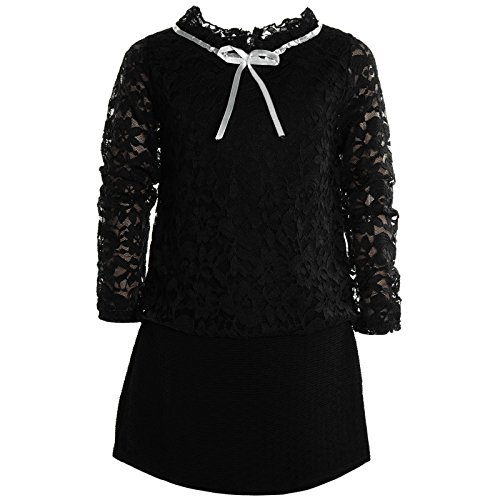 BEZLIT Mädchen Kinder Spitze Frühlings Kleid Peticoat Festkleid Lang Arm Kostüm 21052 Schwarz Größe 152