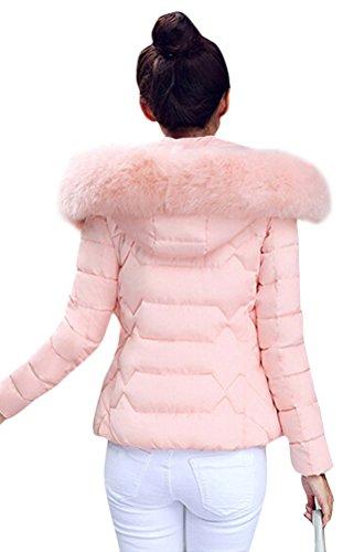 Brinny Damen Mantel Lange Winterjacke Steppjacke Kunstpelz Kapuzen Parka Lang Wintermantel Übergansjacke Mantel Jacke Fellkapuze Warmen Outerwear Fleecejacket 32 Pink