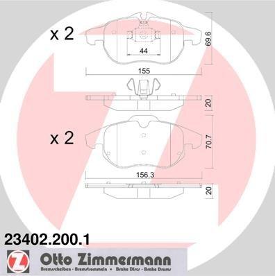 Zimmermann 23402.200.1 Serie Pastiglie Freno, Anterio